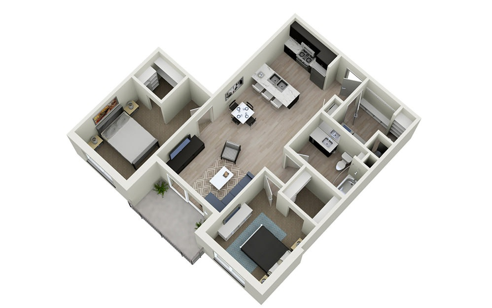 2A - 2 bedroom floorplan layout with 1 bath and 976 square feet.