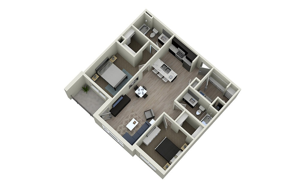 2B - 2 bedroom floorplan layout with 2 baths and 1053 square feet.