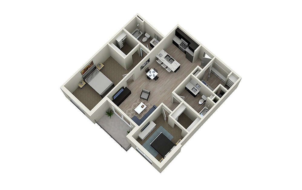 2C - 2 bedroom floorplan layout with 2 baths and 1104 square feet.