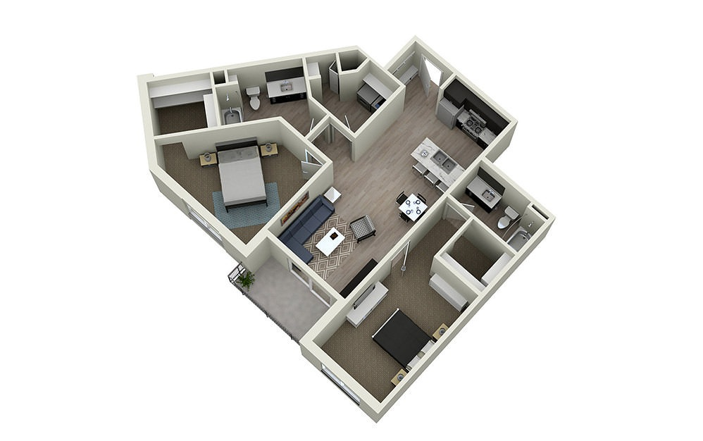 2D - 2 bedroom floorplan layout with 2 baths and 1210 square feet.