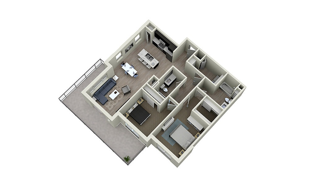 2E - 2 bedroom floorplan layout with 2 baths and 1252 square feet.