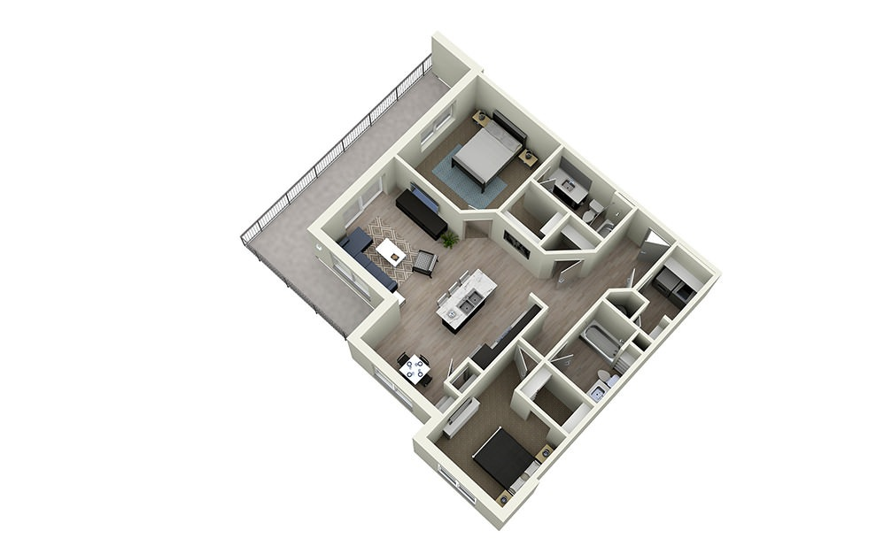 2F - 2 bedroom floorplan layout with 2 baths and 1190 square feet.