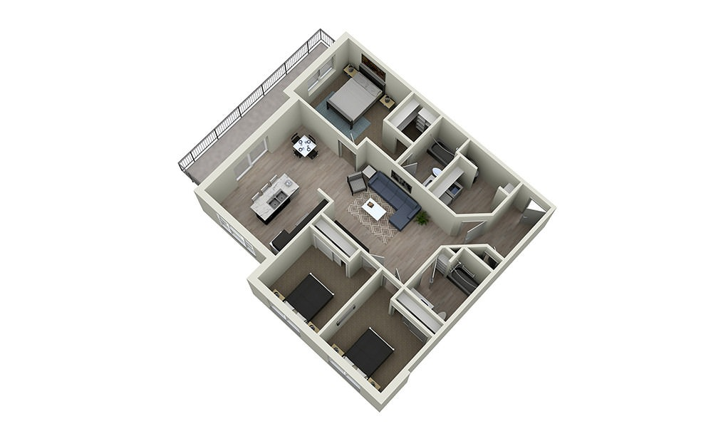 3A - 3 bedroom floorplan layout with 2 baths and 1345 square feet.