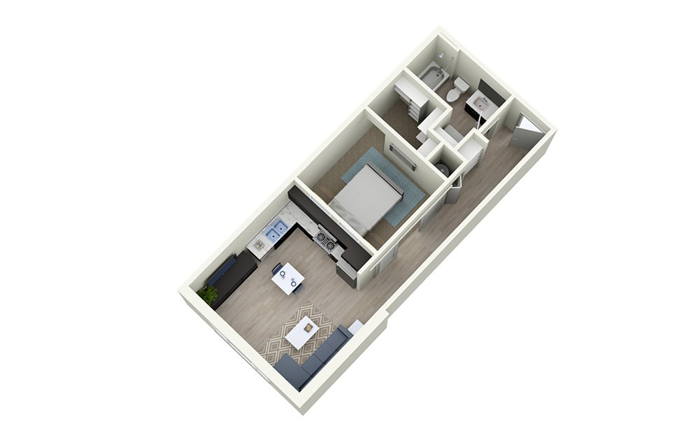 1A efficiency - 1 bedroom floorplan layout with 1 bath and 633 square feet.