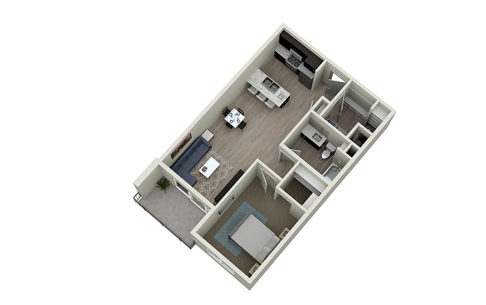 1B - 1 bedroom floorplan layout with 1 bath and 795 square feet.