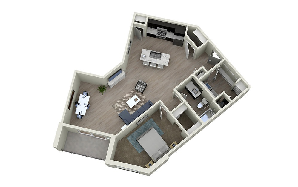 1C - 1 bedroom floorplan layout with 1 bath and 976 square feet.